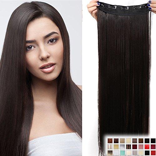 Clip in Extensions wie Echthaar Dunkelbraun Haarverlängerung Haarteil hitzebeständig Glatt 1 Tresse 5 Clips 23