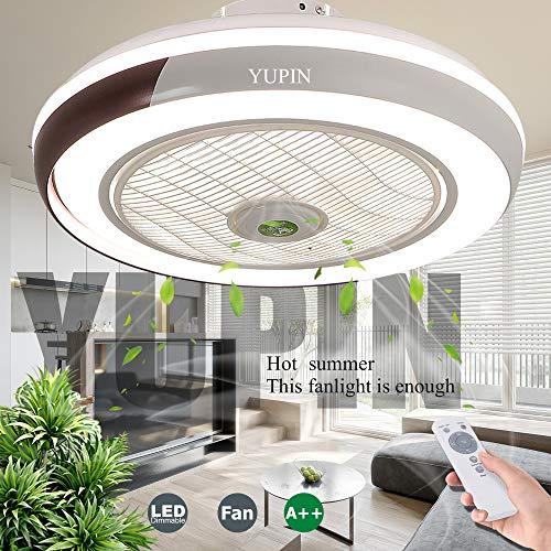 Deckenventilatoren Creative Invisible Fan LED-Deckenleuchte Mit Beleuchtung 68W Fernbedienung Dimmbar Ultra-Leise Kann Timing Fan Kronleuchter Modernes Wohnzimmer Schlafzimmer Fan Lampe Φ50,Schwarz