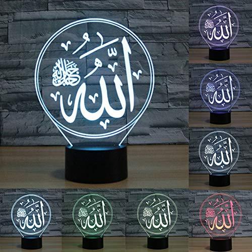 3D Der islamischen Mohammed Optische Illusions-Lampen, Tolle 7 Farbwechsel Acryl berühren Tabelle Schreibtisch-Nachtlicht mit USB-Kabel für Kinder Schlafzimmer Geburtstagsgeschenke Geschenk