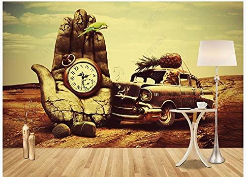 Papel De Pared Decorativo 3D Mural Pared Pared De Fondo De Piedra De Cielo De Reloj De Coche Clásico Papel Pintado Pared Tela No Tejida Foto Mural Pared Murales 200x140cm