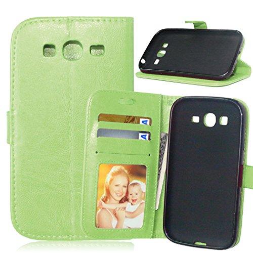 Fatcatparadise Cover per Samsung Galaxy Grand Neo Plus/Grand Neo i9060 [con Pellicola in Vetro Temperato], Cuoio Portafoglio Flip Magnetico Case Simple Wallet Case Custodia in PU Cover (Verde)