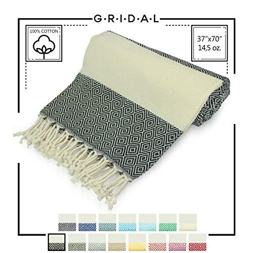 GRIDAL Diamond Turkish Towel (Peshtemal) Natural & Vegan Bath Towel & Beach Towel 100% Cotton - 75 x 39 | at: Beach, Bath, Gym, Pool, Sauna, Travel, Spa | as: Wrap, Shawl, Throw, Towel (Black)