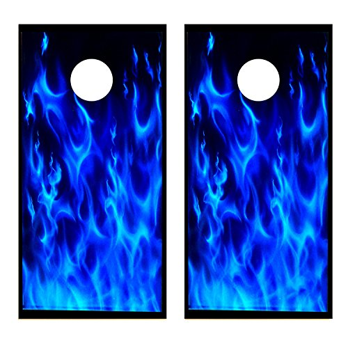 Blue Flames Cornhole Board Decal Wrap Skin Set-2 Decals (Laminated)