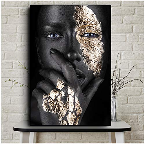 LIPENGYU Print on Canvas African Art Black and Gold Woman Oil Painting on Canvas Posters and Prints Scandinavian Wall Art Picture for Living Room 60x80cmx1pcs No Frame