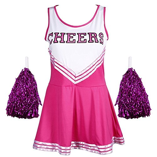 G-Kids Cheerleader Cheerleading kostuum, uniform carnaval, carnaval, party, Halloween kostuum, minirok met 2 pompoms