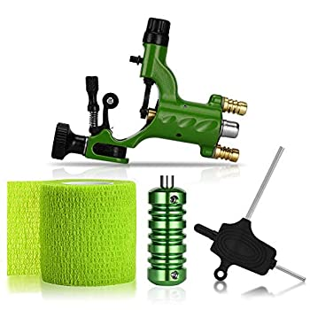 ATOMUS Rotary Tattoo Machine Gun Kit Professional Liner Shader Tattoo Motor Machine with Grip Tube Wrench Elastic Bandage Beginners Tattoo kit Tattoo Supplies  Green