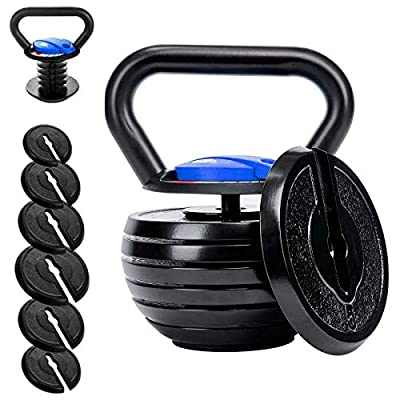 Time wave 10-40LBS Adjustable Kettlebell Weights Sets for Men Women Home Fitness Gym Equipment, Cast Iron Kettle Bell Set for Exercises, Weightlifting, Conditioning, Strength and Core Training (Blue) by Sheng Litong