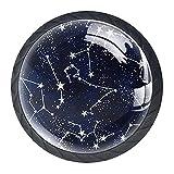 Gbziyjk Perillas para cajones Vidrio Redondo de Cristal Tiradores de Armario, 4 Piezas,Constelaciones de Media Noche
