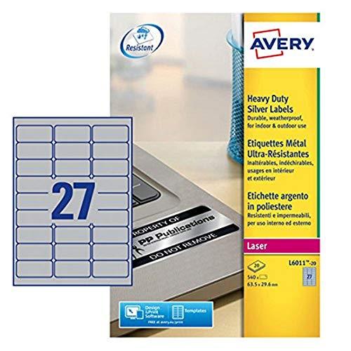 Avery L6011-20 Robuste Laseretiketten ( 27 Stück pro Blatt, 63,5 x 29,6 mm) 540 Etiketten in Silber