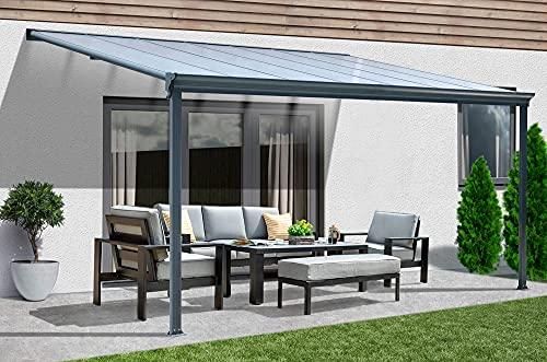 Home Deluxe - Terrassenüberdachung grau - 312 x 303 x 226/278 cm inkl. komplettem Montagezubehör I Wintergartendach Verandaüberdachung Vordach