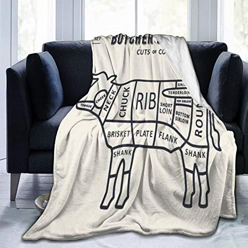 WINCAN Manta De Tiro De Lana Suave,Conjunto de gráficos de Carne de Lomo Cortado Carnicero Toro Diagrama de Vaca Retro Mercado de Alimentos Cocinar Barbacoa,Home Hotel Sofá Cama Sofá Mantas para