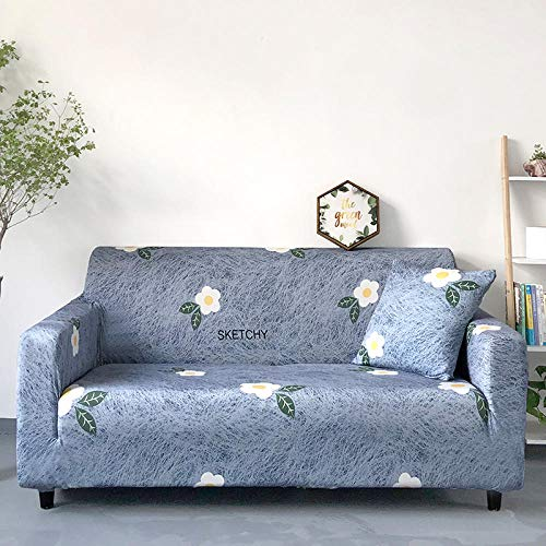 Estiramiento Funda de sofá 4 Plazas 1 Pieza Antideslizante Fundas Impresa para Sofas Sofás Cubre Sofá Ajustable Protector de Muebles 2 Fundas de Almohada Flores Blancas Grises