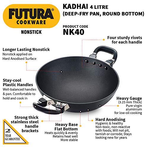 Hawkins Futura Non-Stick Kadhai Deep-Fry Pan, 4 Litre, Black