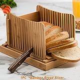 YYWJ - Affettatrice per pane in bambù, pieghevole, compatta, regolabile, con vassoio raccogli-briciole, per pane fatto in casa, pane, pane, bagel, Non null, Come mostrato, Taglia libera