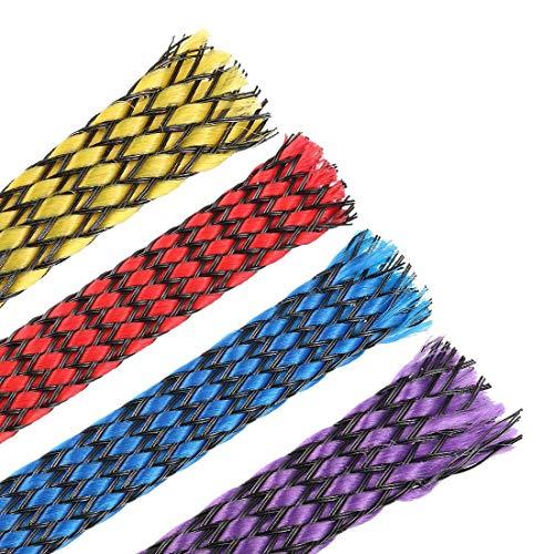 DealMux Funda Trenzada Extensible Pet de 3 pies - 3/8 Pulgadas 4 Colores - Funda de Cable Trenzado de 4 Piezas