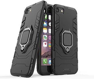 غطاء حماية لهاتف ايفون اس اي 2020 مع حلقة للإصبع، أسود