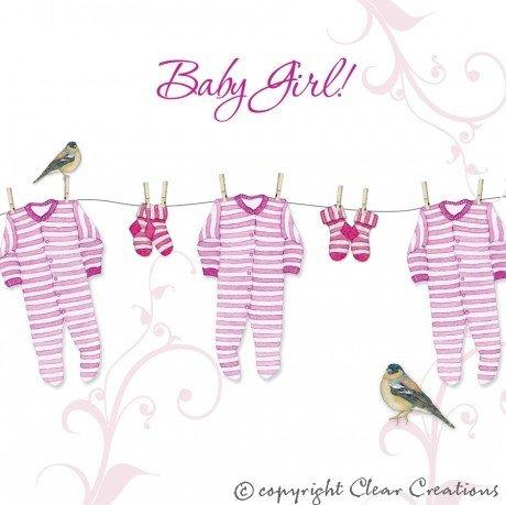 NEW Baby Girl carte de vœux à la main à motif délicat avec de jolis Cristaux dans un design moderne. Cette carte est un de haute qualité à célébrer une occasion très spéciale