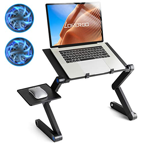 LORYERGO Adjustable Laptop Stand, Foldable Laptop Riser with 2 CPU Cooling Fans, Ergonomic Standing Desk, Portable Laptop Desk on Bed & Sofa, Fits up to 15.6 Inch Laptops