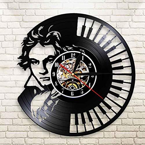 Hopeyard Beethoven Portret Wandkunst Piano Toetsenbord Wandklok Vintage Vinyl Record Wandklok Symfonie Klassieke Muziek Liefhebbers Gift
