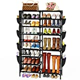 Celaform 9-Tier Shoe Rack Storage Organizer w/ Side Hanging Bags, Non-Woven Shoes Shelf Boot Organizer for Closets, Entryway and Bedroom