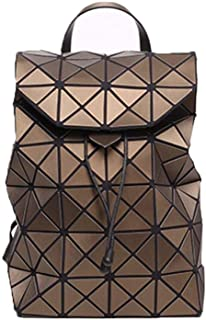 Asdfnfa Backpack, Geometric Fashion Women Backpack Luminous Ladies Rucksack Purse Fashion School Backpack Casual Daypacks Holographic (Color : Brown)
