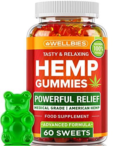 Premium Hemp Gummies - Natural Hemp - Made in USA - Boost Memory Function, Improved Sleep, Support Good Mood - Fast Results - Vitamins B, E