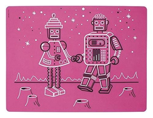 modern-twist MT 011236 Baby Set de Table Robot Amour – Papa, Silicone, Rose, 40 x 32 x 1,12 cm