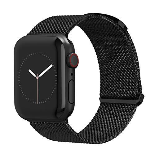TalkWorks Compatible for Apple Watch Bands 44mm / 42mm for iWatch Series 6, 5, 4, 3, 2, 1, SE - Stainless Steel Mesh Adjustable Magnetic Loop Strap for Women / Men - Black