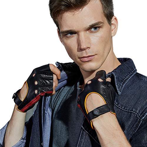 【GSG】ドライビンググローブ 指なし手袋 メンズ 革 レザー バイク グローブ 指ぬき ロック 運転 ドライブ ドライバー 男性 紳士 プレゼントにお勧め 200812