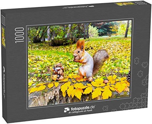 fotopuzzle.de Puzzle 1000 Teile Eichhörnchen im Herbstpark-Wald Eichhörnchen mit Nüssen in der Herbst-Waldpark-Szene Herbstliches Eichhörnchen-Porträt (1000, 200 oder 2000 Teile)