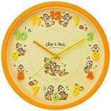 ディズニー 掛け時計 オレンジ チップ&デール 連続秒針