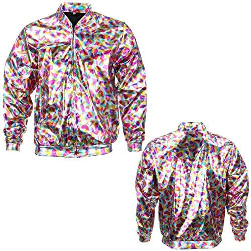 Damen Holografische Bomberjacke Slim Fit Festival Clubbing Pride Fancy Dress Metallic Glanz Rave leicht Gr. M/L, Metallic Rainbow