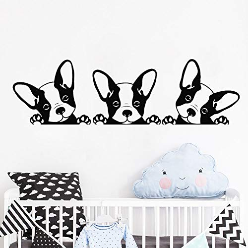 CHENXHU Calcomanía de pared de PVC para habitación de bebé, Bulldog francés Animales pegatinas habitación de niños, dormitorio decoración del hogar papel pintado