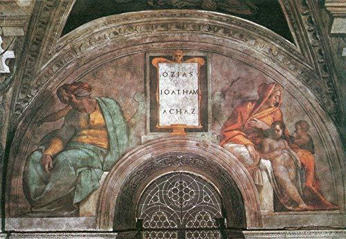 A Michelangelo Buonarroti Su Michelangelo Soffitto della Cappella Sistina Ozias Jethan Und Achaz Puzzle in legno non restaurato Puzzle da 1000 pezzi Giocattolo per adulti Decorazione fai da te Sfida