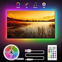 ♬ RGB TV Led Strip 3M : Die LED Streifen sind mit ihrer extrem eine perfekte Dekoration für 46 - 60 Zoll Fernseher. Mit kräftiger Kleberückseite ausgestattet lässt sich der Streifen schnell und einfach hinter einem TV oder PC-Monitor anbringen, ohne ...