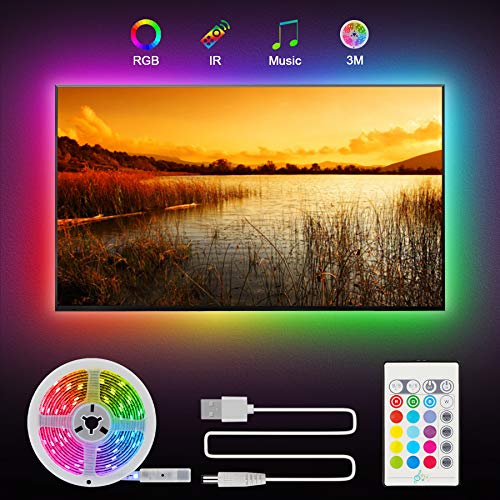 LED TV Hintergrundbeleuchtung, Zorara LED Strip 3M mit Fernbedienung LED Band 5050 RGB 16 Farben 4 SzenenModi LED Streifen USB IP65 Wasserdicht Sync mit Musik für 46-60 Zoll HDTV Beleuchtung Fernseher