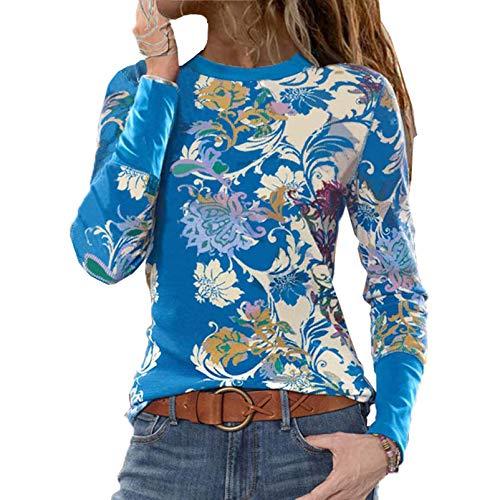 Primavera Y OtoñO Ropa Casual para Mujer Cuello Redondo Blusa Suelta ImpresióN Camiseta De Manga Larga