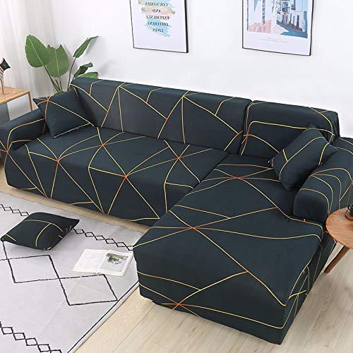 PPMP Funda de sofá geométrica Flexible para Sala de Estar Funda de sofá con Todo Incluido combinación de sofá Modular de Esquina en Forma de L A1 2 plazas