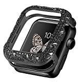Fohuas floral case compatible apple watch 40mm,Luxury floral apple watch Bezel 40mm,Vintage sparkling rhinestone metal jewelry iphone watch cover bumper protector for apple watch series 6 5 4 SE-black