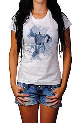 Espressokocher Lady T- Shirt, Stylisch aus Paul Sinus Aquarell Cyan Style