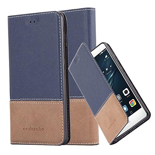 Cadorabo Funda Libro para Huawei P9 en Azul MARRÓN - Cubierta Proteccíon con Cierre Magnético, Tarjetero y Función de Suporte - Etui Case Cover Carcasa