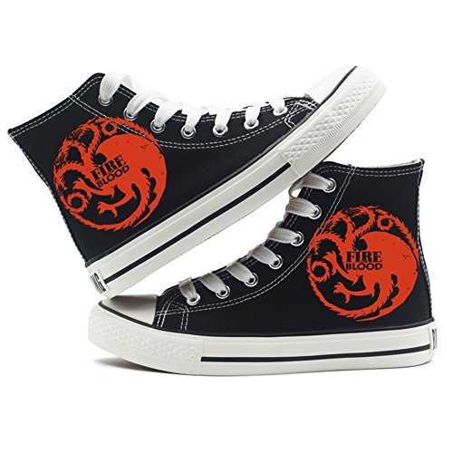 Game of Thrones A Song of Ice and Fire Shoes Canvas Shoes Sneakers Black/White, - Schwarz 3 - Größe: 39 EU