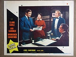 FC22 Lone Star CLARK GABLE/AVA GARDNER Lobby Card. This is a lobby card NOT a video or DVD. Lobby cards were displayed in movie theaters to advertise the film. Lobby cards measure 11 by 14 inches.