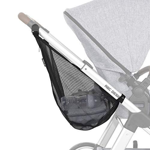 ABC Design Einkaufstasche – Kinderwagennetz zur praktischen Aufbewahrung von Einkäufen, Wickelutensilien & mehr – Mit Reißverschluss – Farbe: Black