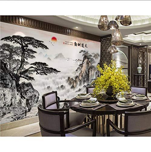 Pmhc papieren peint personaliseerbaar Encre de Chine accueillant pin cascade paysage canapé fond, murales 3D-papier peint 200 x 140 cm.