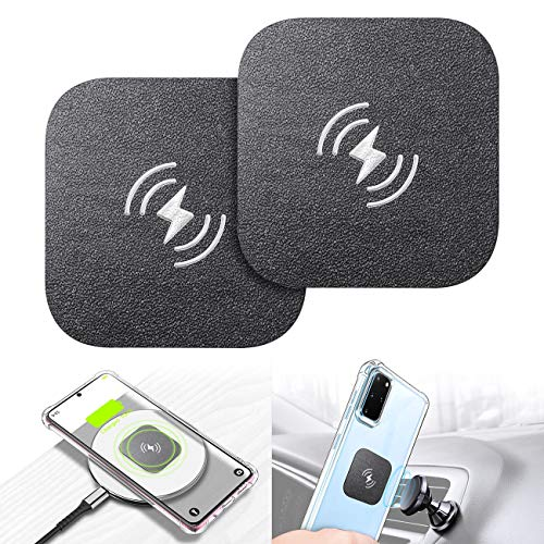 Wireless Charging Compatible Phone Metal Plate, eSamcore Phone Magnet Sticker for Magnetic Car Phone Mount Holder & Cradle & Stand for [Vent] [CD] [Windshield] [Dashboard] 1.7 X 1.7 Inch [2-Pack]