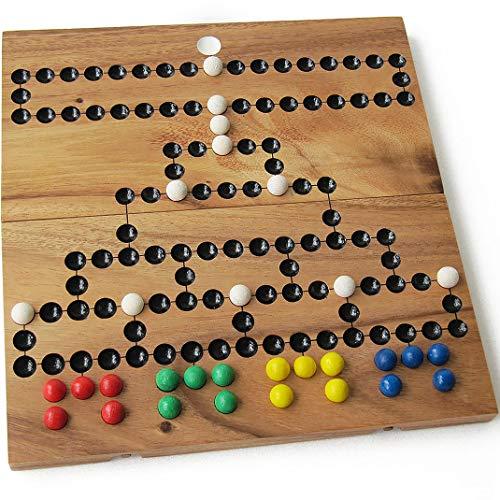 Barrikade oder Malefitz, für 2 bis 4 Spieler, ab 6 Jahren. Familienstrategiespiel mit Würfeln aus massivem Holz. Französische Marke Le Délirant. Entspricht den CE-Normen – Reisespiel – einfache Ablage