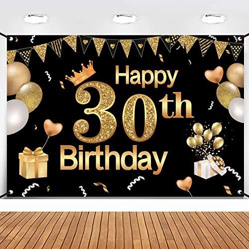 TaimeiMao 30.Geburtstag Dekoration Schwarzes Gold,Geburtstag deko,30 Mann und Frau Geburtstag deko,Geburtstag Party Dekor,30.Geburtstagsdeko,Geburtstag Luftballons für Party Deko,Geburtstagsdeko