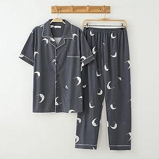 Gbrand Men's Pajama Set Spring Summer Spring/Summer Long-sleeved Trousers Cotton Pajamas Men Elastic Waist Pant Leisure Ou...