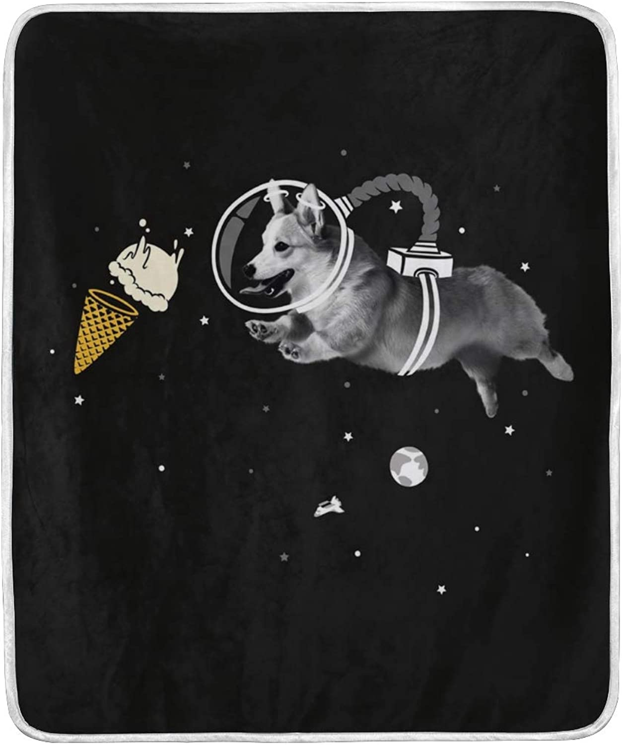 VIMMUCIR Home Decor Corgi Naut Blanket Soft Warm Throw Blankets for Bed Sofa Lightweight Travelling Camping 50 x 60 Inch for Kids Adults